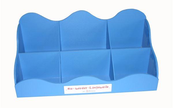 Tischaufsteller für Schule blau lackiert
