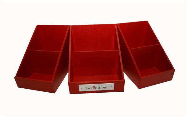 Tischaufsteller für Schule rot lackiert