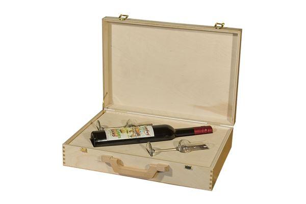 Holzkoffer mit Einsatz für 1 Schnapsflasche und 2 Schnapsgläser