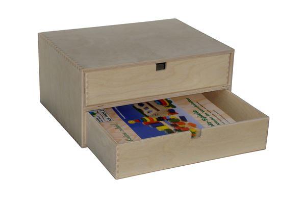 Holzkiste mit 2 Schubladen für Dokumente