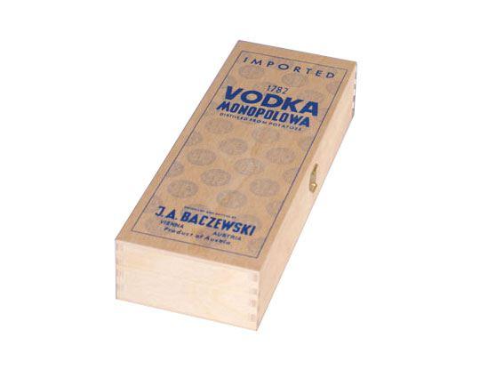 Holzkassette mit blauem Siebdruck