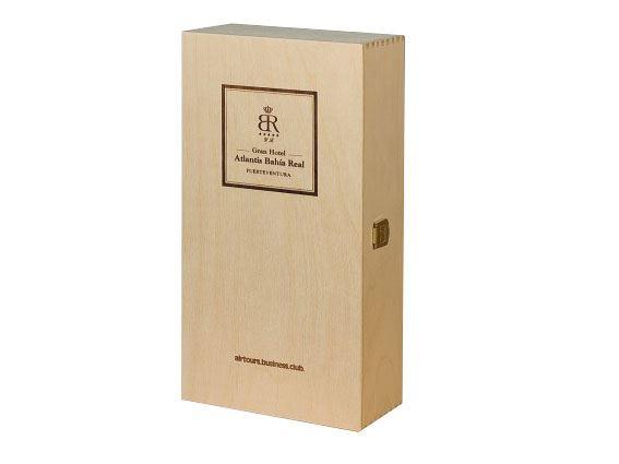Holzkassette mit braunem Siebdruck