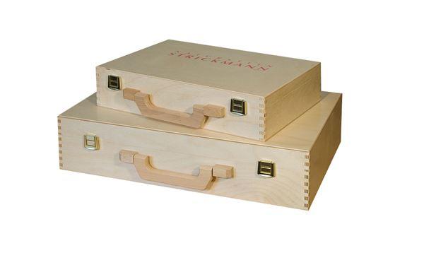 Holzkoffer mit rotem Aufdruck in 2 verschiedenen Größen