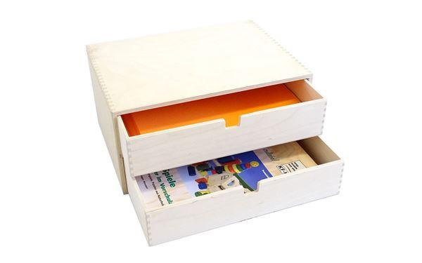Holzkiste mit 2 Dokumentenschubladen passend für A4 Blätter
