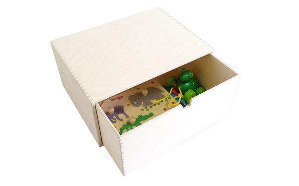 Holzkiste mit 1 großen Schublade zum Verstauen von Spielsachen, Büromaterial, Werkzeug, etc.